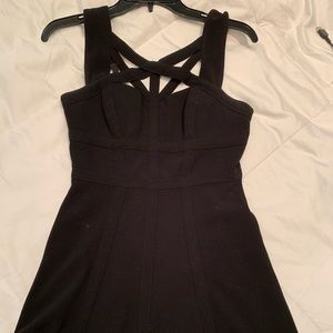 Bcbg black mini fit and flare dress